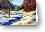 Winter Trees Greeting Cards - Winter Stream Greeting Card by Laura Tasheiko