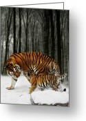 Tiger Cub Greeting Cards - Winter Stroll Greeting Card by Julie L Hoddinott