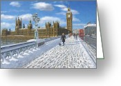 Cities Art Painting Greeting Cards - Winter Sun - Houses of Parliament London Greeting Card by Richard Harpum