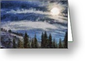 Pen Pastels Greeting Cards - Winter Sun Greeting Card by Russ Harris