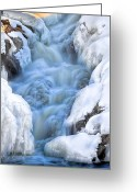 Seasons Greeting Cards - Winter Sunrise Great Falls Greeting Card by Bob Orsillo