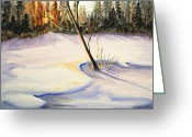 Pine Trees Painting Greeting Cards - Winter Sunrise Greeting Card by Kristine Plum