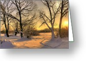 White River Scene Greeting Cards - Winter Sunset Greeting Card by Jaroslaw Grudzinski
