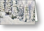 Pine Trees Painting Greeting Cards - Winter Tale Greeting Card by Aleksandr Alekseevich Borisov