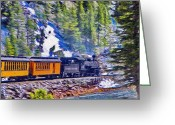 Jeff Kolker Greeting Cards - Winter Train Greeting Card by Jeff Kolker