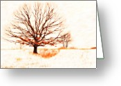 Snow Storm Greeting Cards - Winter Tree Greeting Card by Randy Steele