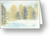 Winter Painting Greeting Cards - Winter Trees Greeting Card by Ken Powers
