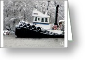 River Scenes Greeting Cards - Winter Tug Greeting Card by Dan Daulby