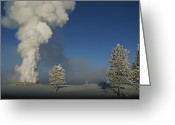 Winter Views Greeting Cards - Winter View Of Old Faithful Geyser Greeting Card by Norbert Rosing