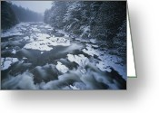 River Scenes Greeting Cards - Winter View Of The Ausable River Greeting Card by Michael Melford