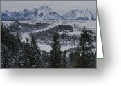 Teton National Park Greeting Cards - Winter View Of The Snake River, Grand Greeting Card by Raymond Gehman