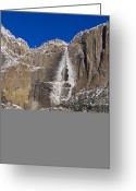 Yosemite Creek Greeting Cards - Winter View Of Yosemite Falls Greeting Card by Marc Moritsch