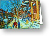 Montreal Citystreets Greeting Cards - Winter  Walk In The City Greeting Card by Carole Spandau