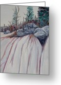 Pine Trees Painting Greeting Cards - Winter waterfall Greeting Card by Marilyn  McNish