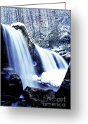 Trout Stream Greeting Cards - Winter Waterfall Greeting Card by Thomas R Fletcher