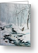 Sunset Scenes. Painting Greeting Cards - Winter Whispers Greeting Card by Hanne Lore Koehler