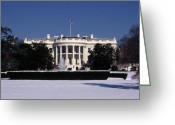 National Treasure Greeting Cards - Winter White House  Greeting Card by Skip Willits