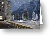 Flurries Greeting Cards - Winter Wonderland Chateau Greeting Card by Andrea Hazel Ihlefeld