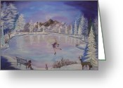 Ice Skater Greeting Cards - Winter Wonderland Greeting Card by Julie Cranfill