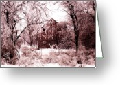Rural Decay  Digital Art Greeting Cards - Winter wonderland Pink Greeting Card by Julie Hamilton