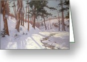 Bare Trees Painting Greeting Cards - Winter woodland with a stream Greeting Card by James MacLaren