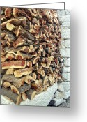 Crete Greeting Cards - Winter woodpile Greeting Card by Paul Cowan