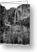 Yosemite Creek Greeting Cards - Winter Yosemite Falls Yosemite National Park CA Greeting Card by Troy Montemayor