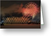 Fire Works Greeting Cards - Winterlude Festival Opening.. Greeting Card by Nina Stavlund
