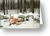 Stone Pastels Greeting Cards - Winters Flight Greeting Card by Pat Morris