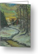 Chimney Pastels Greeting Cards - Winters Here Greeting Card by Shelby Kube