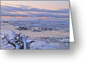 Ice-floe Greeting Cards - Winters River Greeting Card by Rick  Monyahan