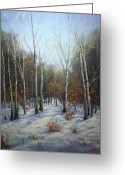Autumn Leaves Pastels Greeting Cards - Winterscape Greeting Card by Paula Ann Ford