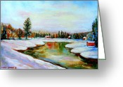 Autumn In The Country Greeting Cards - Winterscene Quebec Painting Mirror Lake At Forests Edge Greeting Card by Carole Spandau