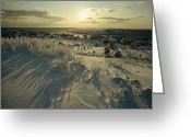Winter Views Greeting Cards - Wintery Skies Hang Over Monhegan, An Greeting Card by Luis Marden