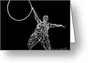 Kinetic Sculpture Greeting Cards - Wire Lady Holding Hoop Greeting Card by Tommy  Urbans