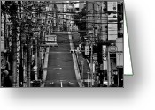 Marking Photo Greeting Cards - Wire Street In Yushima Greeting Card by Sinkdd