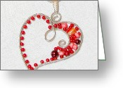 Gift Jewelry Greeting Cards - Wire wrapped heart pendant Greeting Card by Aniko Hencz