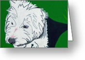 Contemporary Dog Portraits Greeting Cards - Wirehaired Jack Russell Terrier Greeting Card by Slade Roberts