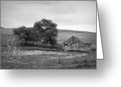 Black And White Barn Greeting Cards - Wisconsin Barn Greeting Card by Scott Norris