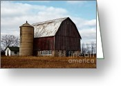 Shed Digital Art Greeting Cards - Wisconsin Dairy Barn Greeting Card by Ms Judi