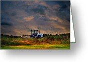 Darken Greeting Cards - Wisconsin Landscape White Tractor Greeting Card by Ms Judi
