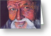 Man Pastels Greeting Cards - Wisdom Greeting Card by Curtis James