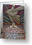 Low Relief Greeting Cards - Wisdom Lords Over Rockefeller Center Greeting Card by Lorraine Devon Wilke