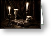 Skull Greeting Cards - Wisdom of the Ages Still Life Greeting Card by Tom Mc Nemar