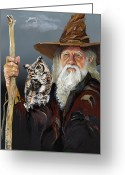 Sorcerer Greeting Cards - Wise Counsel Greeting Card by J W Baker