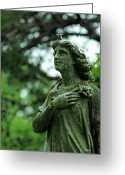 Angel Statue Greeting Cards - Wish Upon a Stardust Greeting Card by Rebecca Sherman