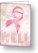 Pink Ribbon Greeting Cards - Wishing Well Breast Cancer Greeting Card by Laura Brightwood