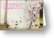 Still Life Greeting Card Greeting Cards - Wisteria and old tin with faith quote Greeting Card by Toni Hopper