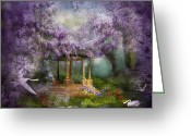Scene Mixed Media Greeting Cards - Wisteria Lake Greeting Card by Carol Cavalaris