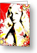 Vector Mixed Media Greeting Cards - Wistful Flutter Greeting Card by Chris Andruskiewicz